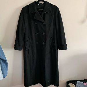 London Fog Women's 10P Black Long Peacoat Wool